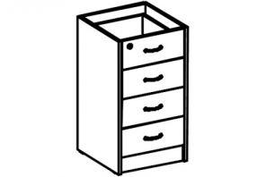 Тумба приставная 4 ящика (глубина 45 см)