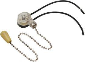 Выключатель для настенного светильника c проводом и деревянным наконечником, silver REXANT