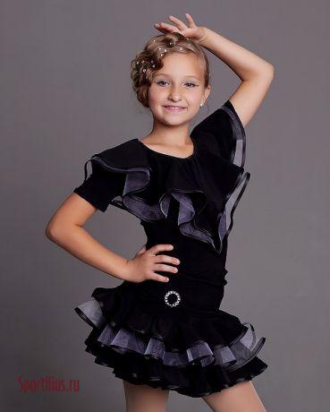 Купить чёрный костюм для латиноамериканских танцев в магазине Спортилиус