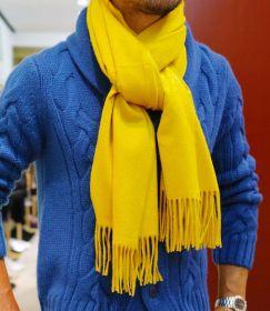 Роскошный большой плотный шарф, высокая плотность, 100 % драгоценный кашемир , Солнечная (ярко-желтая) расцветка  Mustard Yellow (премиум)