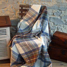 Шотландский плед, 100 % стопроцентная шерсть ягнёнка, расцветка Королевский клан Стюарт (Небесный) Muted Blue Dress Stewart, плотность 8