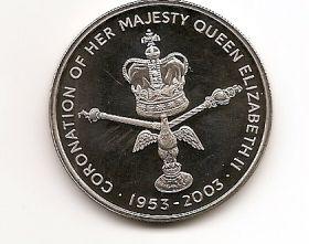 70 лет коронации Елизаветы II 50 пенсов Остров Вознесения 2003
