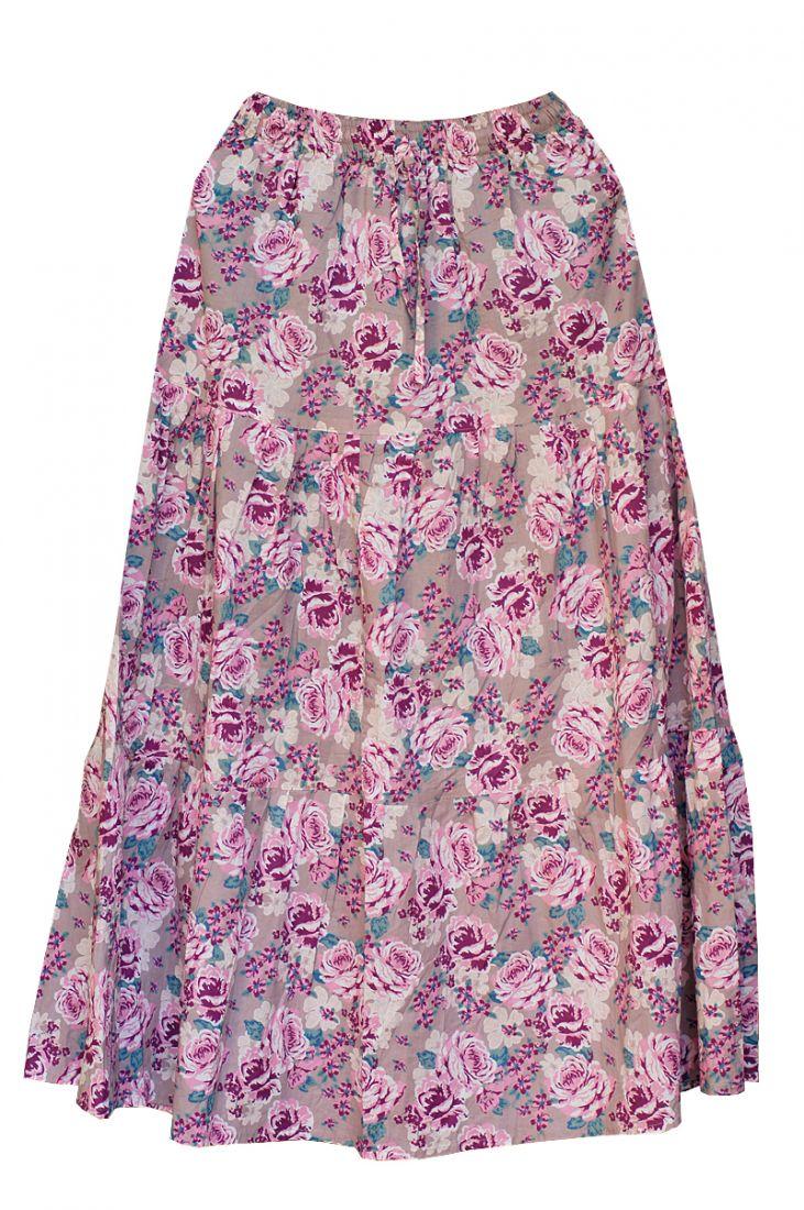 Длинная розовая юбка с розами (отправка из Индии)