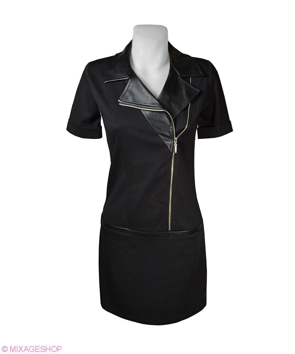 Стильное платье с вставками из искусственной кожи