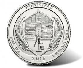 Национальный парк Гомстед(Небраска) 25 центов 2015.Монетный двор на выбор