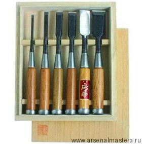 Стамески Hattori, комплект из 6 шт в деревянном кейсе М00003256