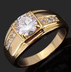 Стильное позолоченное кольцо с искусственными бриллиантами