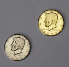Double side half dollar решки silver-gold