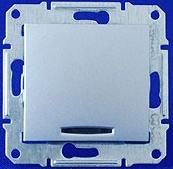 Двухполюсный выключатель одноклавишный с индикацией Sedna (алюминий)