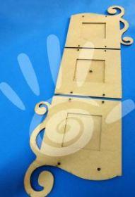 Панно-фоторамка-часы с завитком №19-0002