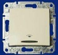 Двухполюсный выключатель 16А одноклавишный с индикацией Sedna (белый)