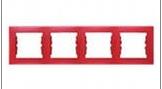 Рамка 4-постовая горизонтальная Sedna (красный)
