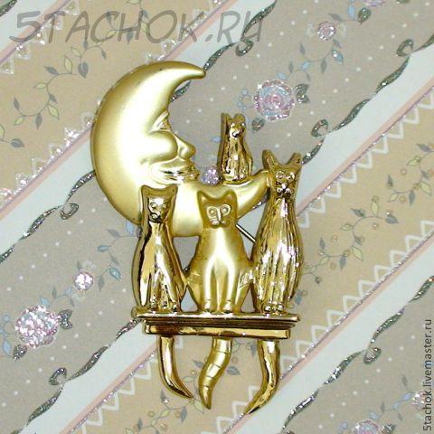 """Брошь """"Лунные коты"""" под золото"""