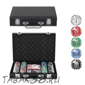 Покерный набор Leather Black 200 (фишки 11,5гр, кейс кожа)