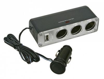 Разветвитель авто прикуривателя на 3 гнезда, 12В, 1 гнездо USB WF-0096