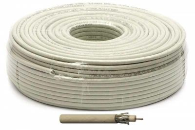 Антенный кабель ТВ RG-6U Electronics 48% (белый) 100м