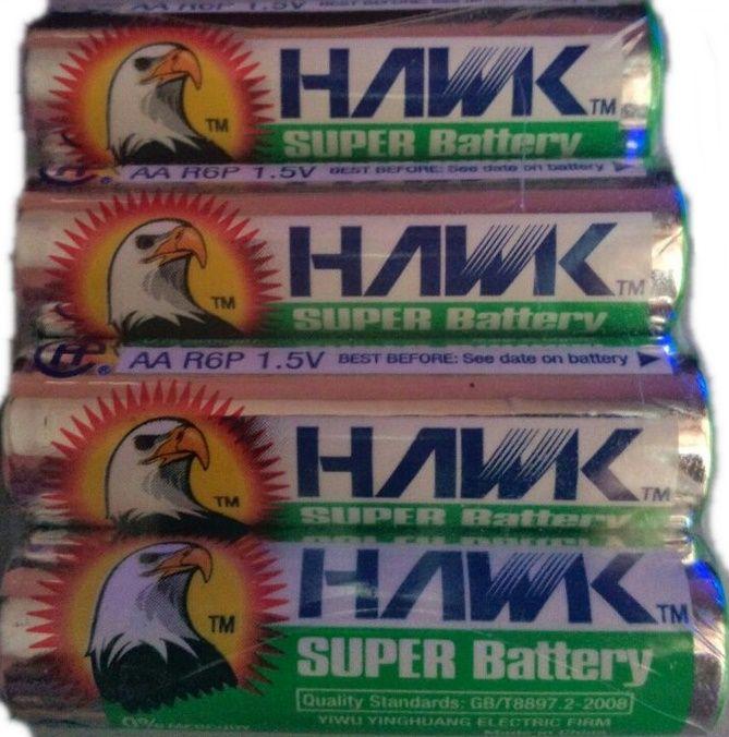 Батарея AA R6 Hawk (Солевые) 4 штуки