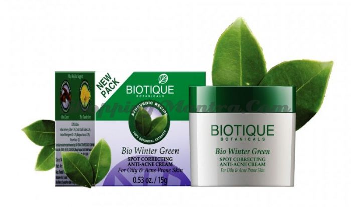 Крем для лица против прыщей и угрей Биотик (Biotique Bio Winter Green)