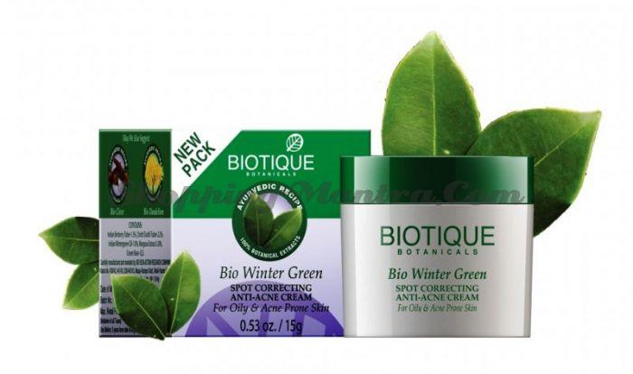 Крем для лица против прыщей и угрей Биотик (Biotique Bio Winter Green)
