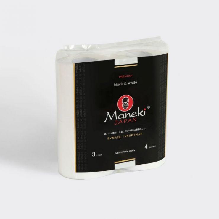 Maneki Бумага туалетная, серия Black&White (в ЧЕРНОМ дизайне), 3 слоя, 214 л., 30 м, гладкая, белая, с ароматом зеленого чая, 4 рулона/упаковка