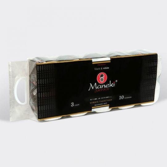 Maneki Бумага туалетная, серия Black&White (в ЧЕРНОМ дизайне), 3 слоя, 214 л., 30 м, гладкая, белая, с ароматом зеленого чая, 10 рулонов/упаковка