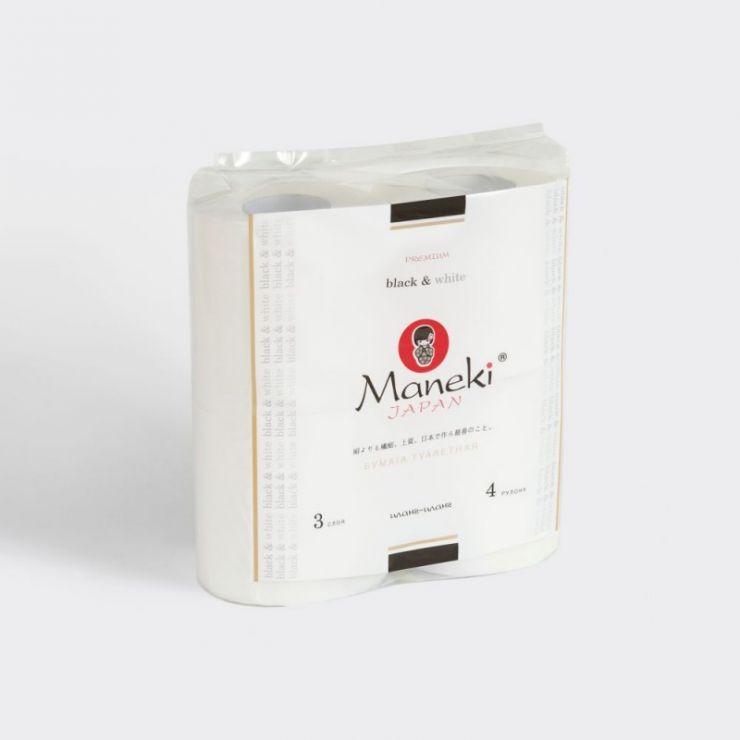 Maneki Бумага туалетная, серия Black&White (в БЕЛОМ дизайне), 3 слоя, 214 л., 30 м, гладкая, белая, с ароматом иланг-иланг, 4 рулона/упаковка