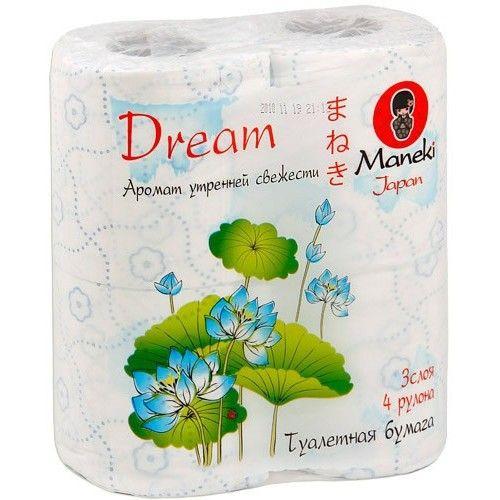 Maneki Бумага туалетная, серия Dream, 3 слоя, 167 л., 23 м, с голубым тиснением и ароматом утренней свежести, 4 рулона/упаковка
