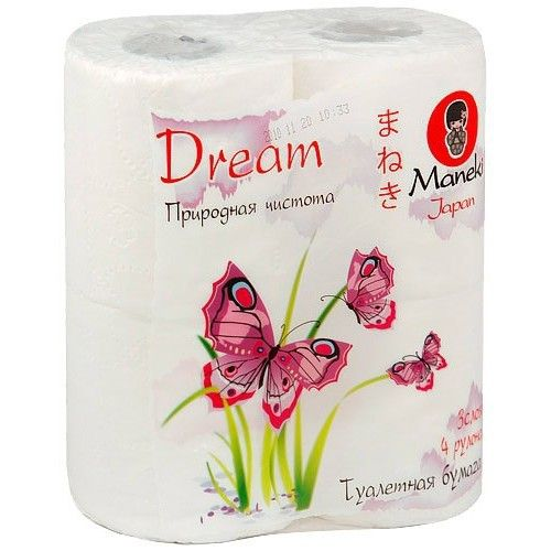 Maneki Бумага туалетная, серия Dream, 3 слоя, 167 л., 23 м, с тиснением, 4 рулона/упаковка