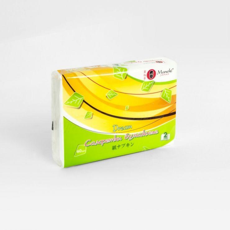 Maneki Салфетки бумажные, серия Dream 2 слоя, белые, 60 шт./упаковка