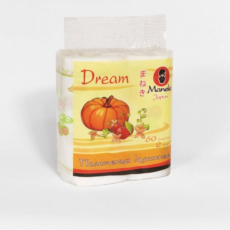 Maneki Полотенца кухонные бумажные, серия Dream, 2 слоя, 60 л., белые с рисунком, 2 рулона/упаковка