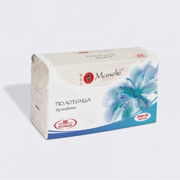 Maneki Полотенца кухонные бумажные, серия Dream, белые, V-сложения (215х225мм), 250 шт./упаковка