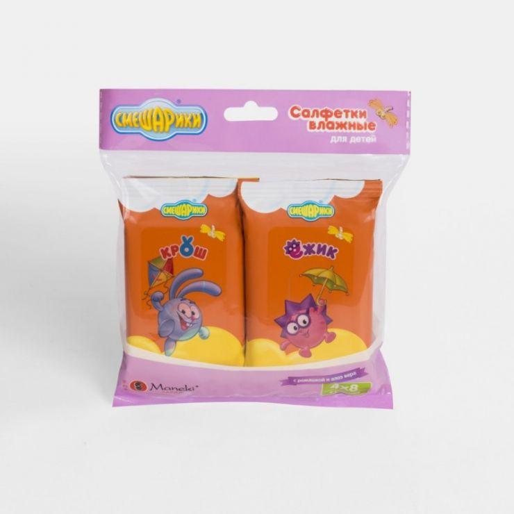 Maneki Салфетки влажные, ТМ Смешарики, детские, с экстрактом ромашки и алоэ вера, 8 шт.*4/упаковка