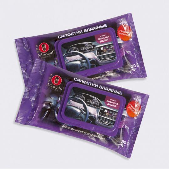 Maneki Салфетки влажные, серия Techno, для ухода за салоном автомобиля, 30 шт./упаковка