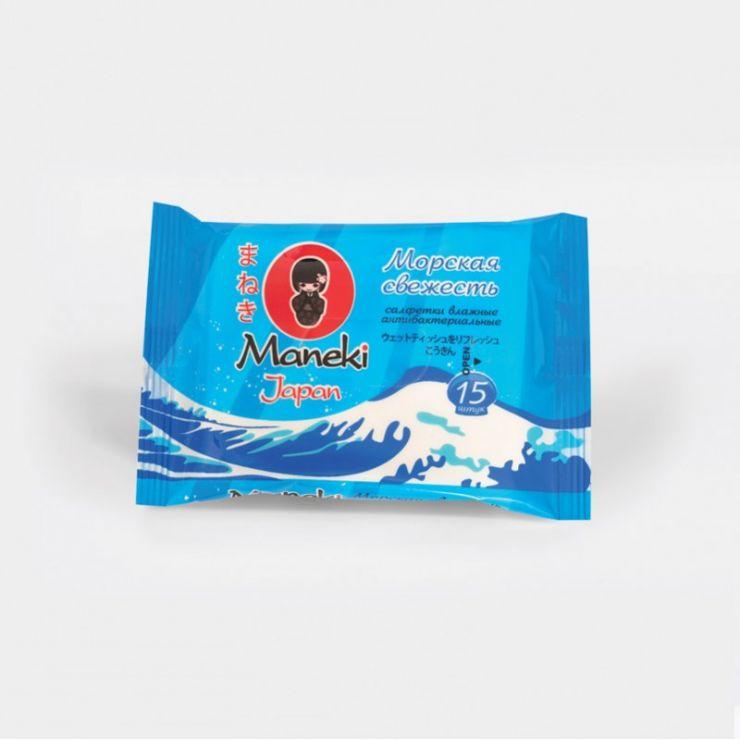Maneki Салфетки влажные, серия Kaiteki, антибактериальные Морская свежесть, 15шт./упаковка