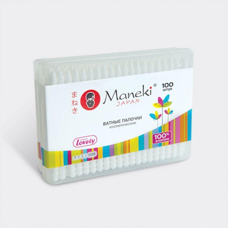 Maneki Палочки ватные косметические, серия Lovely, с белым пластиковым стиком, в пластиковой коробке, 100 шт./упаковка