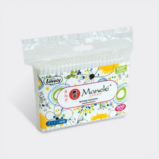 Maneki Палочки ватные гигиенические, серия Lovely, с белым пластиковым стиком, в zip-пакете, 200 шт./упаковка