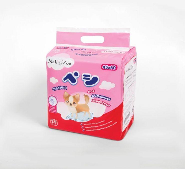 Maneki Пеленки для домашних животных NekiZoo, впитывающие одноразовые, размер S (45х60см), 25 шт./упаковка