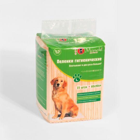Maneki  Пеленки гигиенические для домашних животных, серия Yo-Yo, размер L, 60х90 см, 25 шт./упаковка