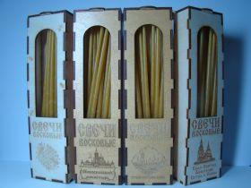 Свечи восковые в деревянной упаковке с индивидуальным изображением Вашего Храма