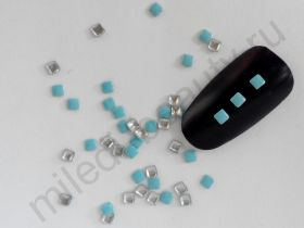 Фигурки металлические - квадрат (2 мм) цвет: голубой.