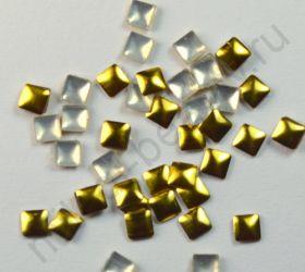 Фигурки металлические - квадрат (3 мм) цвет: золото