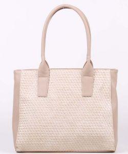 Плетёная бежевая сумка