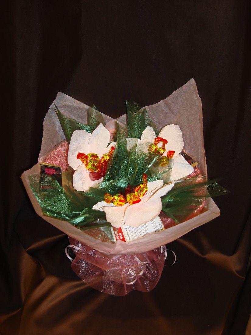 """Букет """"Орхидеи"""" большой с чаем, кофе и конфетами - подарочный набор"""