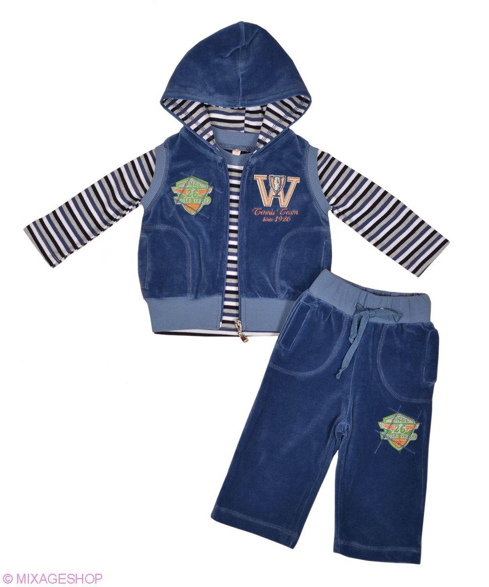 Стильный велюровый костюм с трикотажным лонгсливом