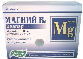 МАГНИЙ  B6  (ЭВАЛАР)  36ТАБЛ.