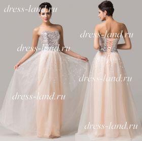 Кремовое вечернее платье с пышной юбкой и блестящим лифом