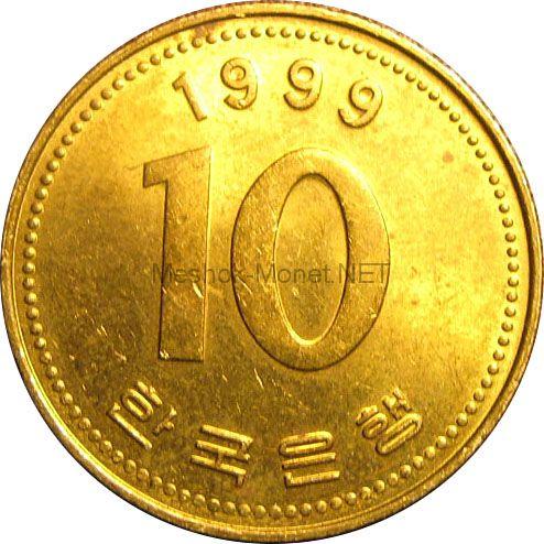 Южная Корея 10 вон 1993 г.