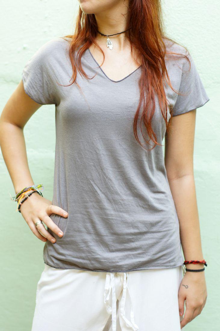 Серая однотонная трикотажная футболка (отправка из Индии)