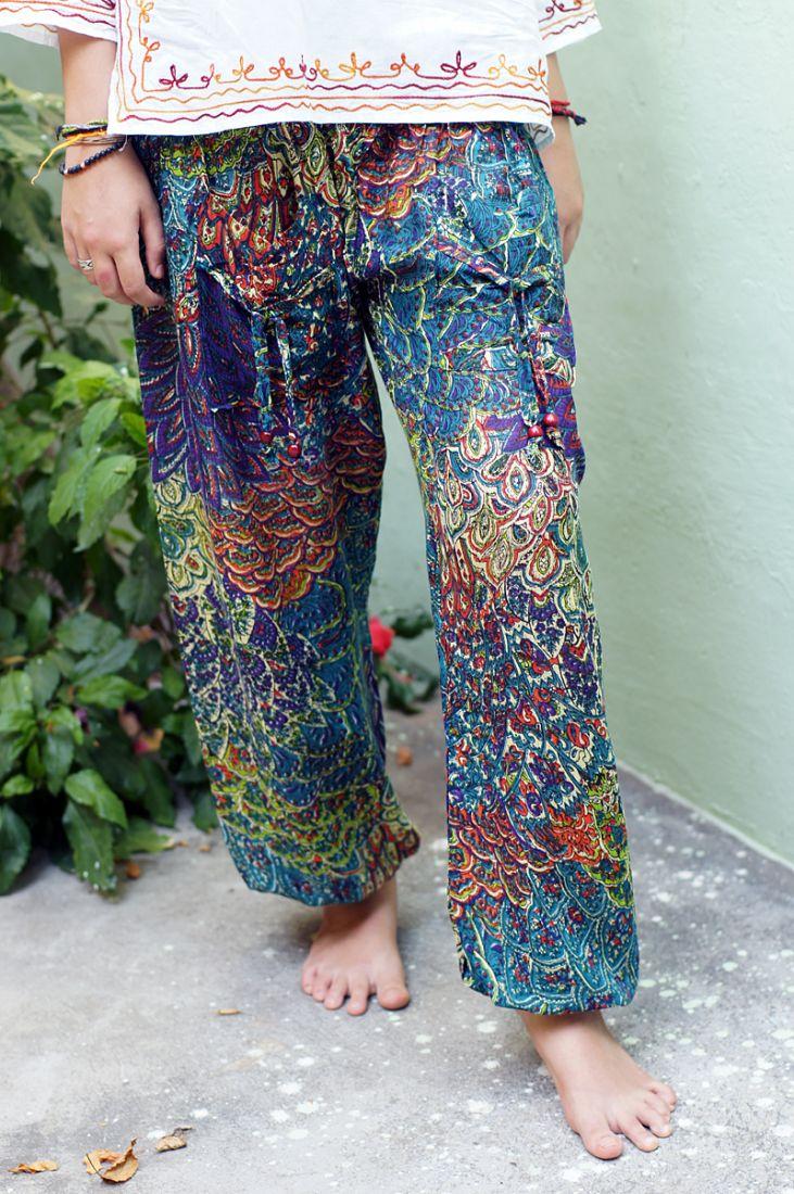"""Разные цвета! Женские  разноцветные шаровары """"Перья"""" (отправка из Индии)"""