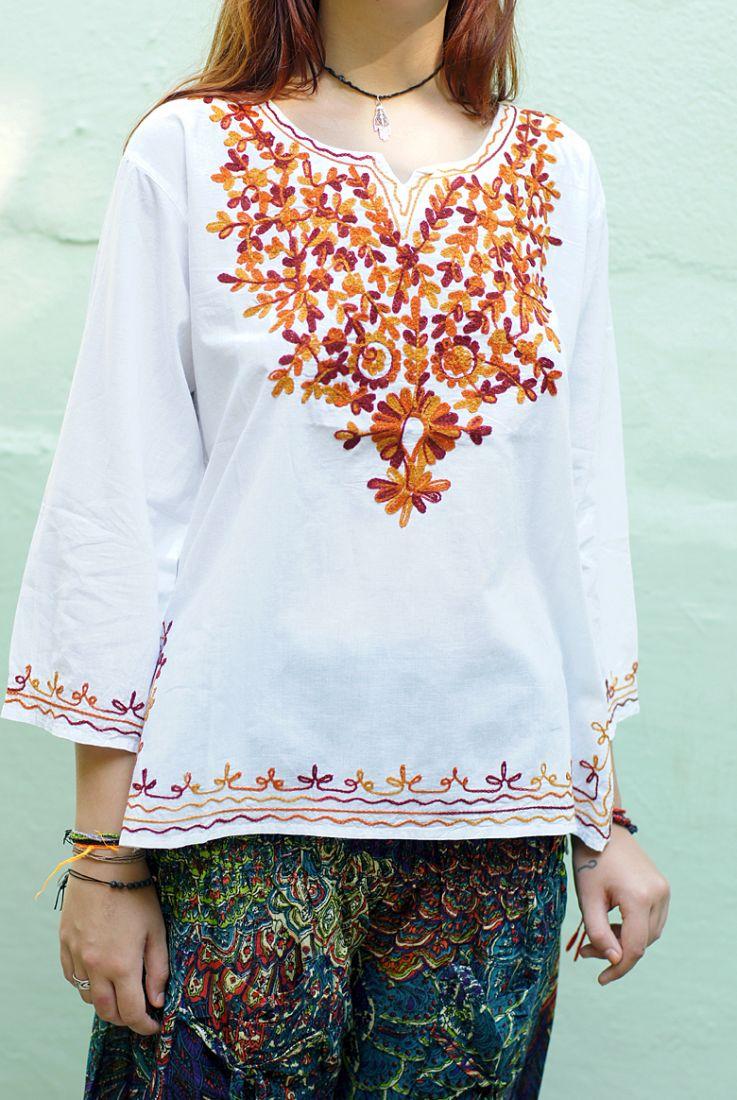 Белая индийская рубашка с вышивкой, L